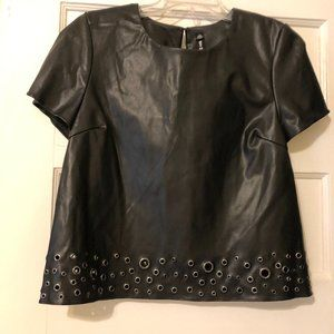 Lord & Taylor Black Large Faux Leather Studded Top